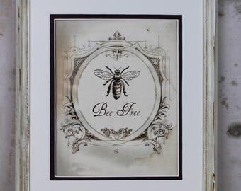 French Bee Illustration Digital Art Instant Download Vintage Honeybee Honey Printable Wall Art Home Decor Scrapbooking Crafts Greeting Card