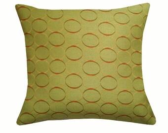 Retro Circles Throw Pillow Cover, Retro Pillows, Mid-Century Home Decor, Green Pillows & Cushions, Mid-Century Pillows