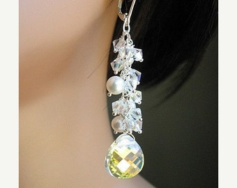 Freshwater Pearl and Swarovski Crystal Earrings, Long Sterling Silver Chandelier, Romantic Bridal Jewelry