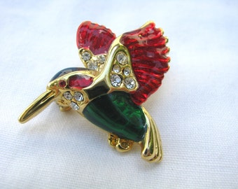 Holiday Hummingbird brooch pin with rhinestones