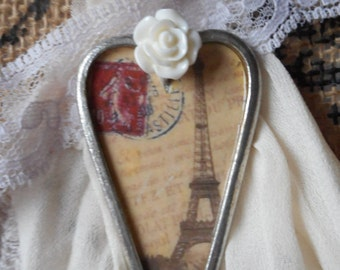 Wearable art mixed media pendant necklace shabby chic cottage chic vintage lace French Eiffel Tower Heart