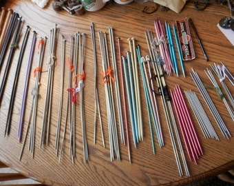 knitting needle collection vintage with needle roll