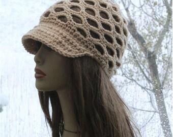 Womens Crochet Hat,Summer Newsboy Cap,Crochet Summer hat,  lace crochet beanie, womens brim cap, womens sun hat, Billed beanie, beige hat