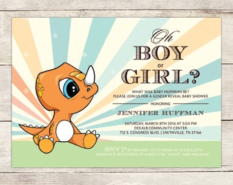 Baby Triceratops Baby Shower Invitation, Baby Dinosaur Baby shower Invite Gender Neutral Baby Shower Invite Gender Reveal Baby Shower Invite
