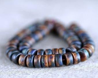 Tribal Navy/Brown Wheel Beads, Matte Picasso wheel beads, Czech glass beads, Donut beads, (100pcs) NEW