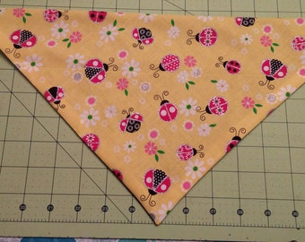 Spring Dog Bandana, ladybug, flower, neckerchief