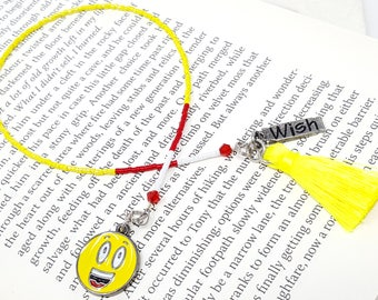Beaded Book Thong, Beaded Bookmark, Emoji Bookmark, Gifts for Book Lover, Author Writer Gift, Gift for Her, Childrens Bookmark, Readers Gift