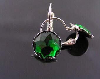 Green Earrings, Green and Silver Earrings, Ear Cuffs, Sleeper Earrings, Small Earrings, Light Weight Earrings, Acrylic Earrings