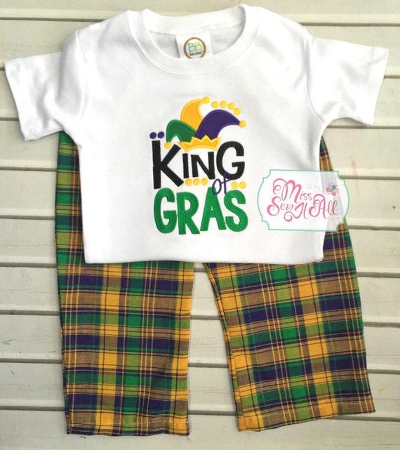 Boys King Of Gras Mardi Gras Shirt With Plaid Pants