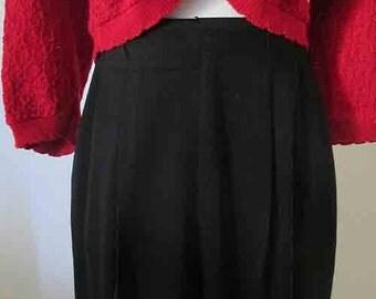 Stylish and Sophisticated 1940's Black Gabardine Pleated Slacks Kathryn Hepburn Vintage Style VLV Rockabilly Size Medium