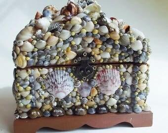 Seashell Treasure Chest, Seashell Box, Father's Day, Merman Chest, Brown Seashells, Graduation, Birthday