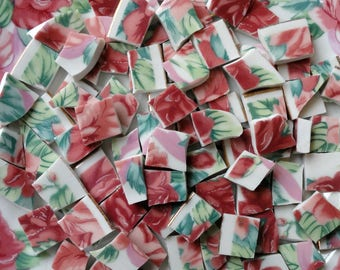 90 Rose and Emerald Green Floral Vintage Mosaic Tiles //Mosaic Supplies//Craft Supplies//Broken Dish