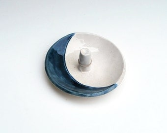 Blue Moon Ring Holder - Ceramic, Pottery, Handmade - Ring Dish, Jewelry Dish, In Stock, Lauren Sumner Pottery - Gifts for Her