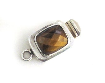 """Sterling Silver and Faceted """"Topaz"""" Box Clasp / Single Strand Clasp / New Unused"""