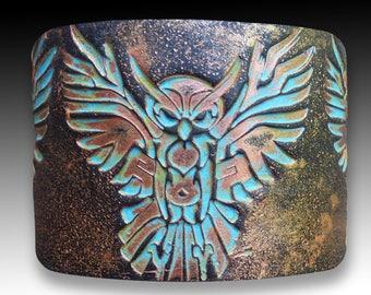 Owl polymer clay cuff bracelet