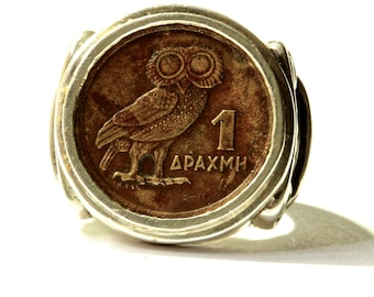 Owl Ring Coin RIng sterling silver coin rings Greek Coin by  Blue Bayer Design NYC