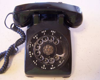 Vintage Black Desk Phone, Rotary Dial Telephone, Works, Mid Century Phone, Bell Telephone, Photo Prop, 1950s