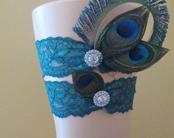 PEACOCK Wedding Garter Set, Teal Lace Bridal Garters with Bling, Rhinestones, Something Blue Garter, Rustic- Country- Vintage Bride