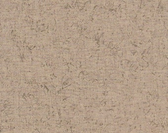 "Khaki Background With Olive Green Sprigs Cotton Remnant  10"" X 44"" ~ 4 Charm Quilt Piecing ~ Patchwork Material ~ Doll Clothes  # A 123"