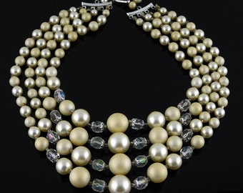 Gorgeous Vintage 4 Strand Graduated Faux Pearl And Crystal Necklace Ca. 1950s