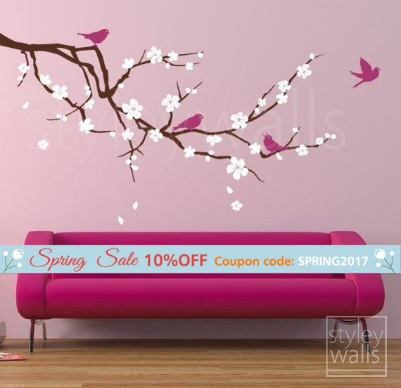 Cherry Blossom Branch Wall Decal, Branch and Flowers Wall Decal, Cherry Branch Wall Decal, Cherry Tree Wall Decal Sticker for Baby Nursery