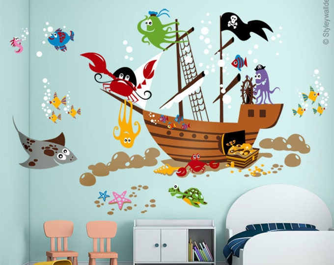 Underwater Wall Decal, Ocean Wall Decal, Pirate Ship Wall Decal, Pirate Fishes Wall Decal, Playroom Wall Decals, Nursery Baby Room Decor