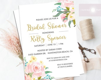 Watercolor Bridal Shower Invite, Floral Watercolor Invitation, Printable Shower Invitation, Digital File, Elegant Invite, jadorepaperie