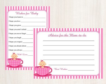 Wishes for Baby Card / Advice for the Mom to-be /Pink Baby in a Teacup / Set of 10