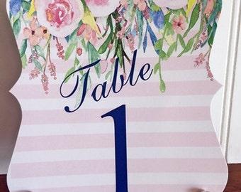 Floral Table Number / Wedding / Diecut /  Peonies Watercolor Flowers / Greenery