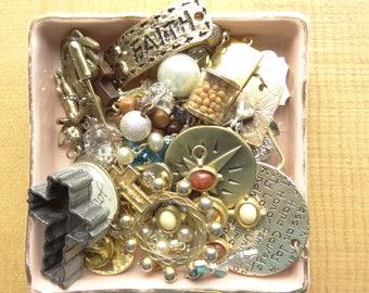 Religious, Cross, Saint, Vintage Jewelry Destash Lot. Cross Findings.  Vintage Pendants. Charms. D28