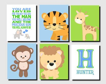 Jungle Animals Nursery Wall Art, Baby Boy Nursery Art, Green Blue, Safari Animals, Intial, Name, Quote, Elephant, Set of 6, Prints or Canvas
