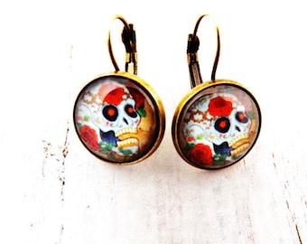 Colorful Sugar Skull Lever Back Earrings