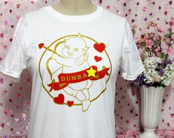 ON SALE Stupid Cupid Screen Printed T-Shirt - Metallic Gold and Red on White
