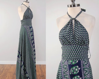 Vintage 70s INDIAN block print cotton halter wrap dress / Maxi length / Indian cotton dress