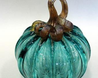 Hand Blown Glass Art Sculpture  Pumpkin Gourd Oneil 7608 Jade