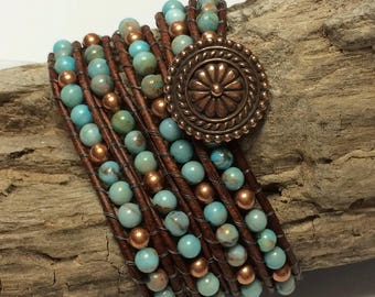 Turquoise and Copper Brown Leather Beaded Bracelet