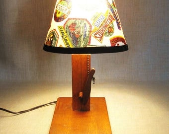Folk Art Wooden Handmade Lamp, Lighting, Wood, Hand Crafted Cabin Decor, Lodge , Lake House, Rustic, Small Lamps, Shade, Mid-Century,Antique