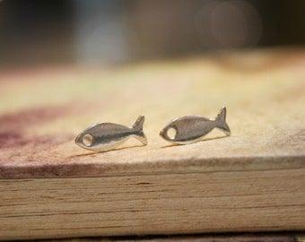 Fish Sterling Silver Stud Earrings