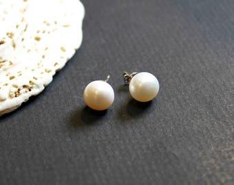 Pearl Earrings, 10mm Sterling Silver Earrings, Stud Earrings, Birthday Gift, Mother's Day Gift