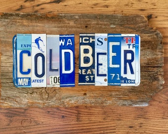 COLD BEER license plate sign tomboyART art recycled upcycled pig BBQ tomboyART tomboy art SouL FooD