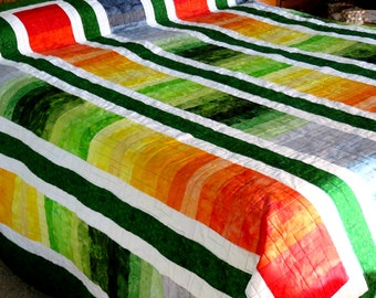 KIng or Queen Quilt, Machine Pieced and Machine Quilted in Shades of Green, Orange, Yellow and Gray