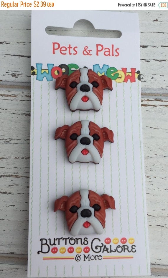 SALE Boxer Dog Buttons, Carded Novelty Buttons by Buttons Galore, Style PP120, Set of 3, Shank Back Buttons