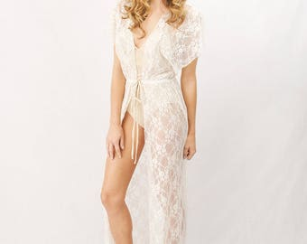 White Wedding lingerie- Lace Flutter Sleeve Robe
