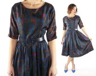 Vintage 60s Party Dress Jewel Tone Satin Full Pleated Skirt Short Sleeves 1960s Medium M Carol Cook Holiday Christmas