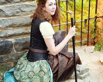 Bustle Steampunk Teal Brown Tan Fractal Paisley and Striped