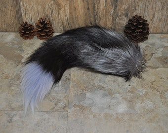 Blue Tinted Real Beautiful Silver Fox Tail Keychain