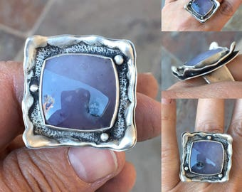 Purple Salvia Chalcedony and Fine Silver Ring. Handmade Jewelry for Charity. RC5