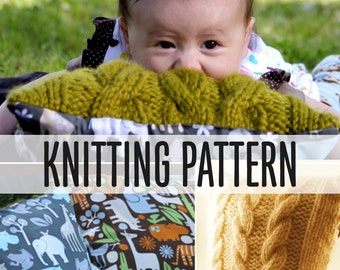 Chunky Baby Pillow Easy Illustrated Knitting Pattern PDF Great for ADULT Pillows too Make ANY Size