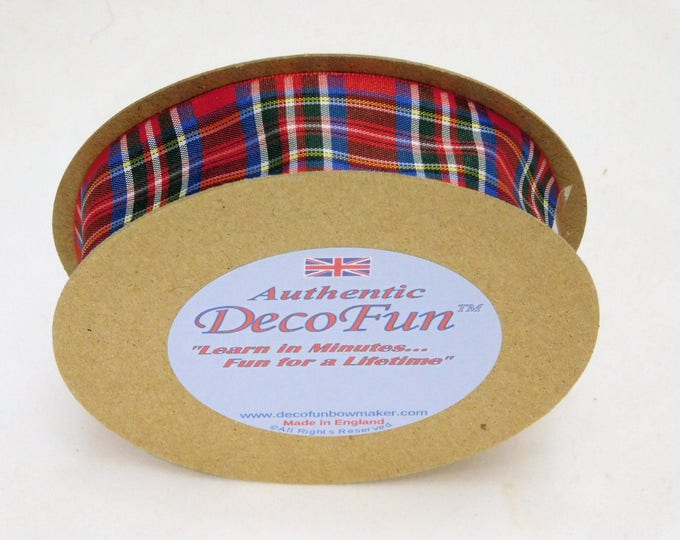 Royal Stewart Red Plaid Ribbon, 5/8 inch (15 mm) width Woven Edge Tartan, genuine Scottish plaid, Made in England,