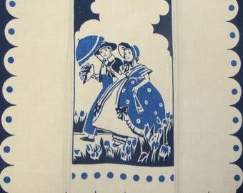 Vintage Blue Linen Kitchen Towel Courting Couple